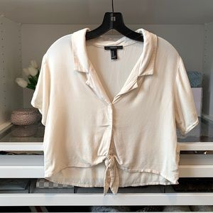 Cream Crop Top with Tie Knot and Collar